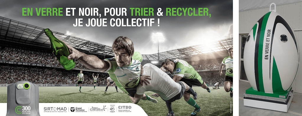 joueur de rugby qui recycle